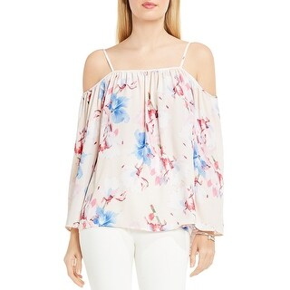 Vince Camuto Womens Peasant Top Floral Print Cold Shoulder