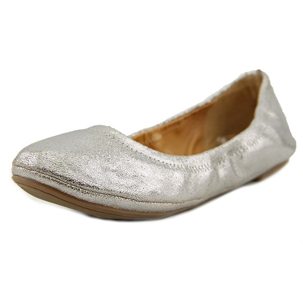 Lucky Brand Emmie Women Round Toe Leather Silver Ballet Flats