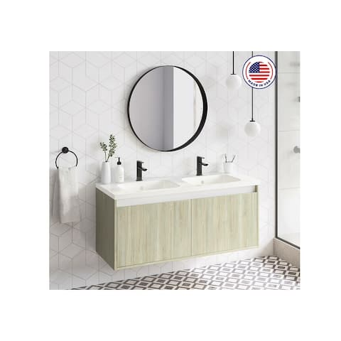 "48"" Modern Bathroom Vanity Cabinet Village Set WF445 PineOak Wood W 48 X H 20 X D 18 in cabinet + double sink"