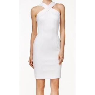 Calvin Klein NEW White Women's Size 12 Seamed Halter Sheath Dress