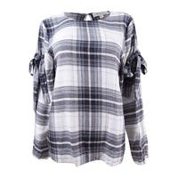 Vince Camuto Women's Tie Sleeve Plaid Blouse - Dusty Blush