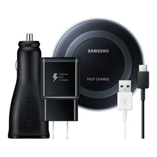 Samsung Fast Charge Power Bundle: Qi Certified Fast Wireless Charge Pad, Dual-Port Car Charger, Cables and Wall Charger