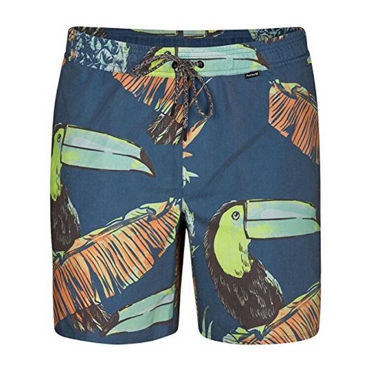 Hurley Mens Printed Elastic Waist 17 inch Volley Swim Shorts
