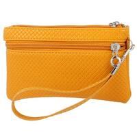 Unique Bargains Ladies Polyester Lining Orange Faux Leather Zip up Wallet Purse w Hand Strap