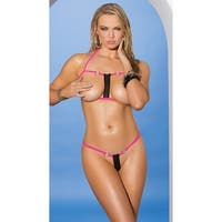Open Cup Pink Zipper Bikini, Open Cup Bikini - Neon Pink - One Size Fits Most