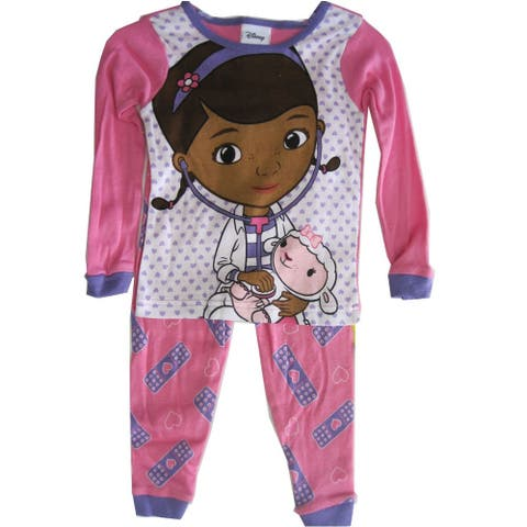 Disney Jr Little Girls Pink Doc McStuffins Heart Print 2 Pc Pajama Set 2T
