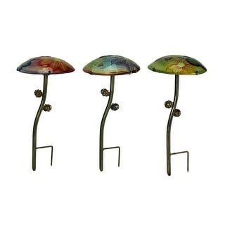 Glow In the Dark Glass Mushroom Garden Stakes Set of 3 - 15 X 7.25 X 7.25 inches
