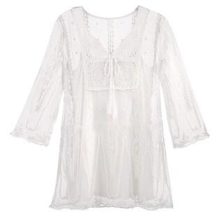 Kaktus Sportswear Women's Lace Tunic Top/Tank Set - 3/4 Sleeve Long Sheer Blouse