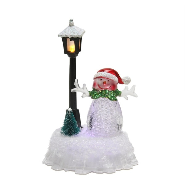 "5"" LED Lighted Color-Changing Snowman with Santa Hat with Lamp Post Christmas Table Top Figure"