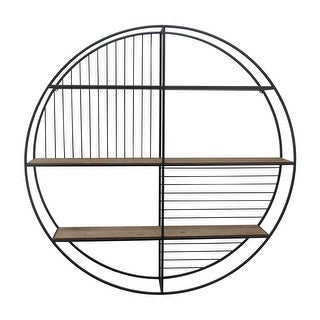 Link to 3 Tier Wood and Round Metal Floating Wall Shelf with Slatted Details, Brown and Black Similar Items in Accent Pieces