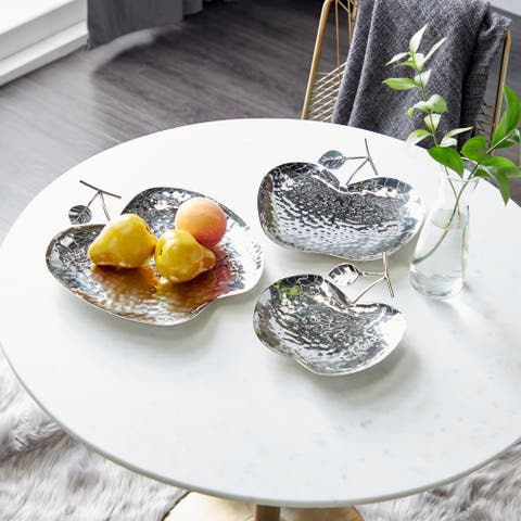 Silver Metal Contemporary Tray (Set of 3) - 13 x 13 x 2
