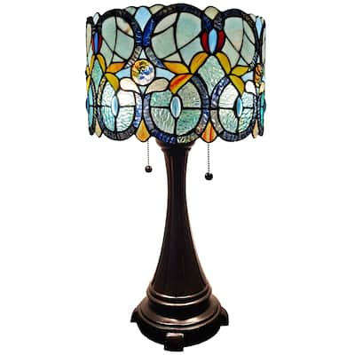 """Tiffany Style Table Lamp Floral 21"""" Tall Stained Glass White Decor Nightstand Bedroom Handmade Gift AM286TL12 Amora Lighting"""