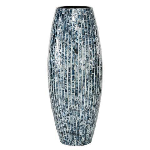 "Blue Mosaic Shell Patterned Vase 8""W X 19"" - 8 x 8 x 19"