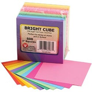 """Mighty Bright Cube Paper Pad 3""""X3"""" 500 Sheets/Cube-50 Sheets 10 Assorted Colors"""