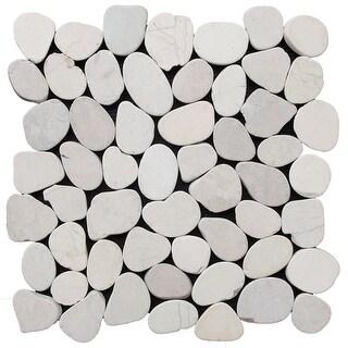 Miseno MT-S3PWH Flatten Pebble Natural Stone Mosaic Tile (10.12 SF / Carton) - White