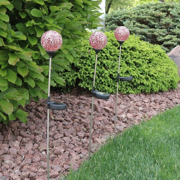 Sunnydaze Solar LED Garden Stake Lights with Mosaic Crackle Glass Decorative Ball Design, Set of 3