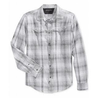 Calvin Klein NEW Gray White Plaid Mens Size XL Button Down Cotton