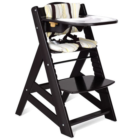 Costway Baby Toddler Wooden Highchair Dining Chair Adjustable Height w/ Removeable Tray
