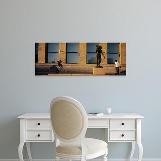 Easy Art Prints Panoramic Images's 'Skateboarders In Front Of A Building, Oslo, Norway' Premium Canvas Art