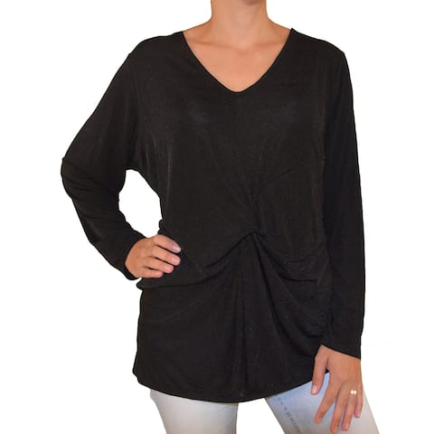 NY Collection Rich Black Womens Size 1X Plus Twist Front Blouse