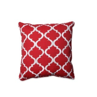 "25"" Moroccan Dreams Radish Red and Shell White Decorative Floor Pillow"