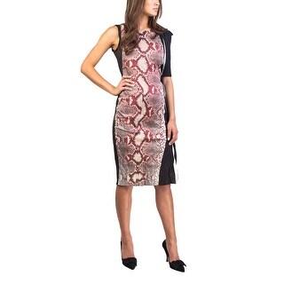 Prada Women's Cotton Metal Blend Reptile Print Dress Red - 6