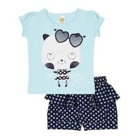 Baby Girl Set Infant Graphic Tee Shirt and Shorts Outfit Pulla Bulla 3-12 Months