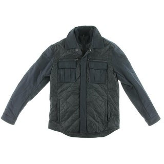 Michael Kors Mens Quilted Wool Trim Coat - L