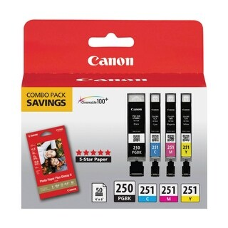 Canon 6497B004 Ink Cartridges & Paper Combo w/ Black & Color Ink Cartridges