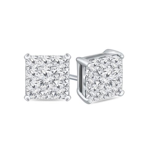 Auriya 14k Gold 1/2ctw Square Pave Diamond Stud Earrings