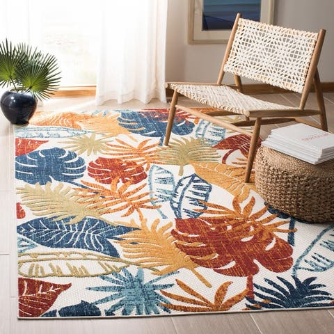 SAFAVIEH Cabana Indoor/ Outdoor Leala Floral Patio Backyard Rug