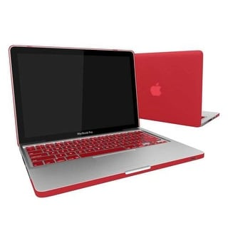 Rubber Coated Hard Case Cover With Keyboard Skin for MacBook Air 13-Inch (Model : A1369 and A1466) - Red