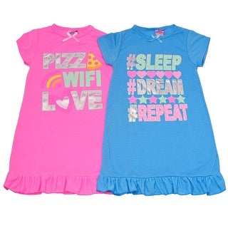 Sweet n Sassy Girls Blue Pink Letter Print Ruffle 2 Pc Nightgown Set