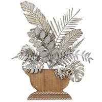 """Set of 2 Gray and Brown Layered Feather and Leaf in Planter Wall Decor 25.5"""" - Silver"""