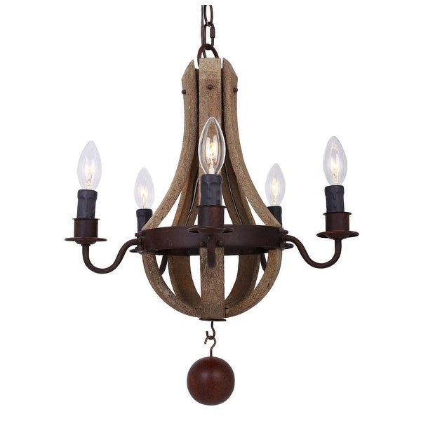 Distressed Wood Chandelier: Shop Rustic 16-inch Distressed Wood 5-Light Chandelier