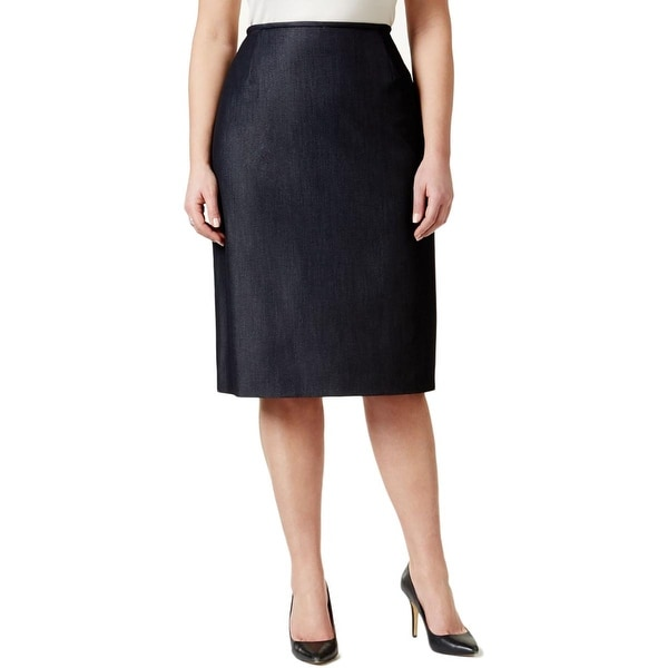 Tahari ASL Womens Plus Pencil Skirt Heathered Vented