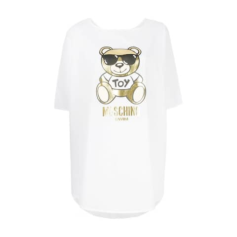 Moschino Women's Cotton Metallic Bear Cover Up Shirt White