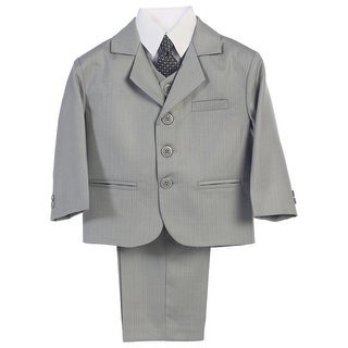 Baby Boys Light Grey Jacket Vest Necktie Shirt Pants 5 Pc Suit