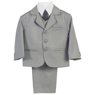 Little Boys Light Grey Jacket Vest Necktie Shirt Pants 5 Pc Suit
