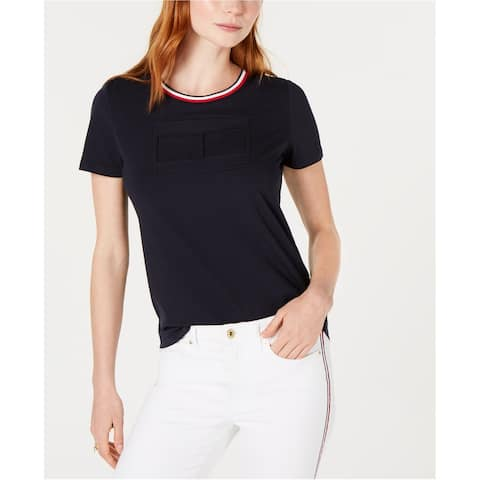 Tommy Hilfiger Womens Embossed Logo Embellished T-Shirt, blue, Small
