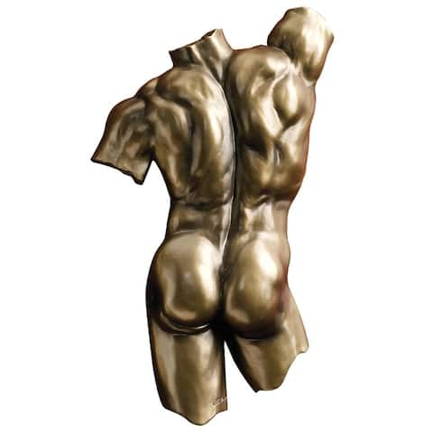 Design Toscano Anatomical Decipher Nude Torso Wall Sculptures by Kaleb Marytn (b. 1960): Male