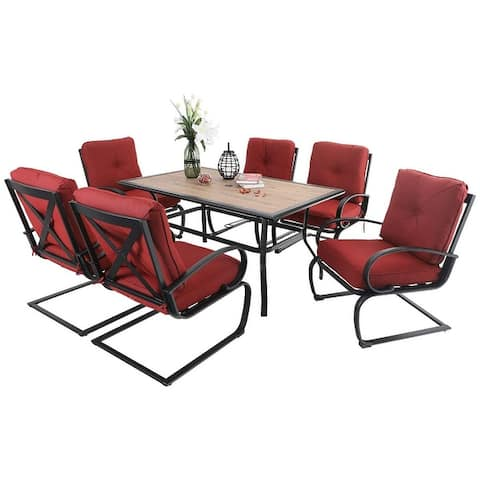 "PHI VILLA 7 Pcs Patio Dining Set with 60""x38"" Large Rectangular Wood Like Top Table & 6 Padded Spring Motion Chairs"