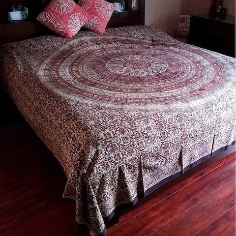 Kalamkari Block Print Tapestry Floral Paisly Mandala Throw Coverlet Bedspread Full-Queen Cotton Red Green