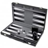 Brybelly GGAM-201 15in Backgammon Set with Stitched Black Leatherette Case
