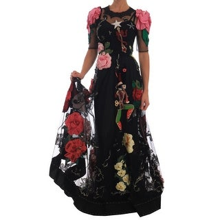 Dolce & Gabbana Crystal Fairy Tale Floral Lace Women's Gown - it38-s