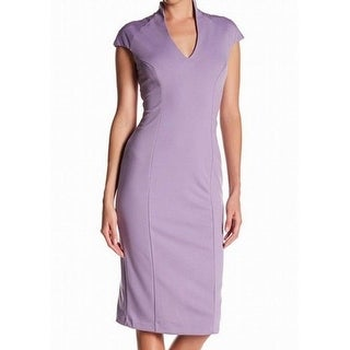 Alexia Admor Womens Medium Split-Neck Sheath Dress