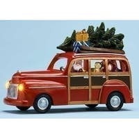 "9"" Musical Lighted Red Station Wagon with Santa Claus Christmas Figure"