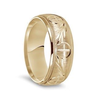 Link to 14k Yellow Gold Satin Finished Men's Milgrain Wedding Ring with Polished Cross Pattern Grooves - 8mm Similar Items in Rings
