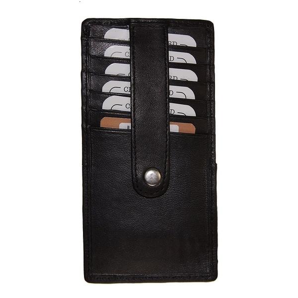 Improving Lifestyles Leather Credit Credit Card Holder Black Strap snap sure FREE Organza Git Bag SUN220BK
