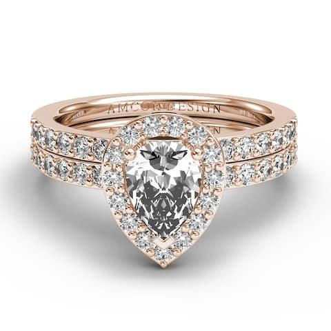 14KT Gold 1.25 CT Halo Diamond Engagement Ring Set Pear Wedding Band